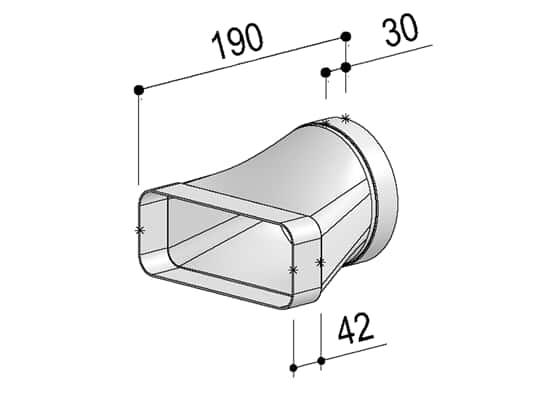 Produktabbildung Berbel Flachrohr System 150 - gerader Übergang