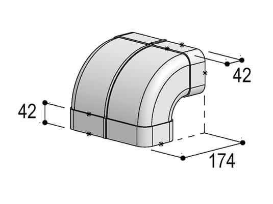 Produktabbildung Berbel Flachrohr System 150 - 90°-Bogen senkrecht