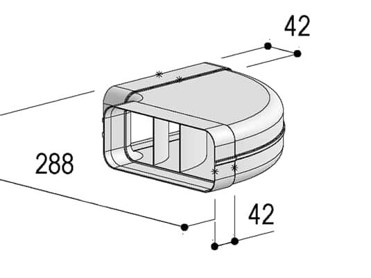 Produktabbildung Berbel Flachrohr System 150 - 90°-Bogen waagerecht