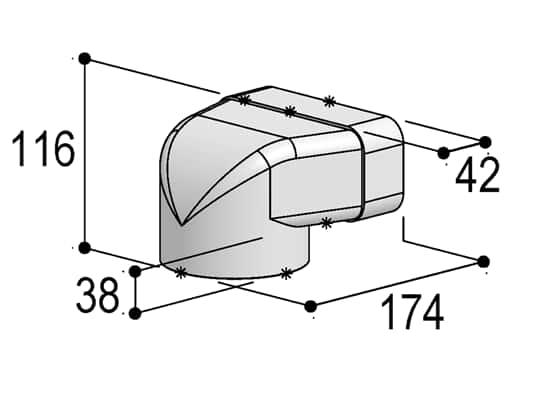 Produktabbildung Berbel Flachrohr System 125 - 90°-Umlenkstück auf flach