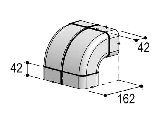 Produktabbildung Berbel Flachrohr System 125 - 90°-Bogen senkrecht