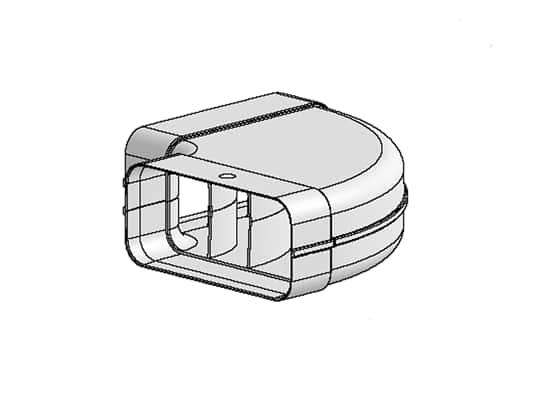 Produktabbildung Berbel Flachrohr System 125 - 90°-Bogen waagerecht