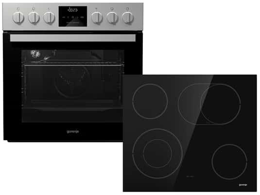 Gorenje New Jubi Set 4 BC 635 E19XK-2 Einbauherd Edelstahl + ECD 620 SCOT Glaskeramikkochfeld herdgebunden