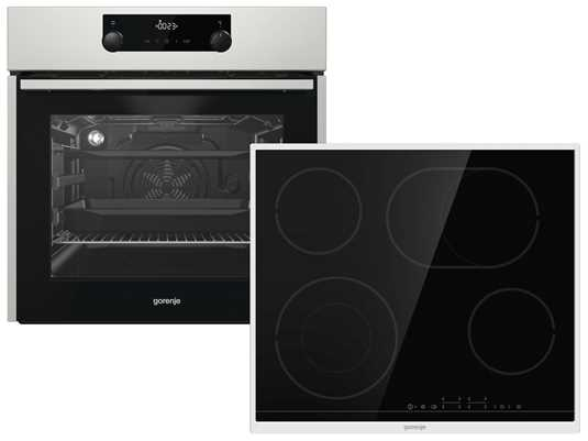 Produktabbildung Gorenje Black Pepper Set E8S - Backofen BOS737E301X + Glaskeramikkochfeld ECT643BX autark