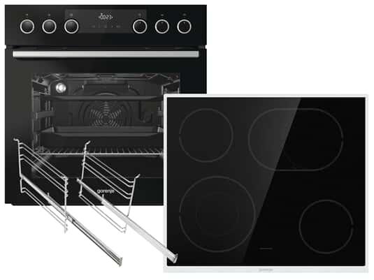 Produktabbildung Gorenje Black Set III Pyrolyse Einbauherd BCP637E28BG + Glaskeramik-Kochfeld ECD634X