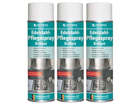 Produktabbildung Hotrega H130920 Edelstahl-Pflegespray - Brillant - 3er Set