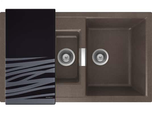Draufsicht von Schock Mono D-150 A Bronze Granit-Spülemit schwarzem Glasschneidebrett