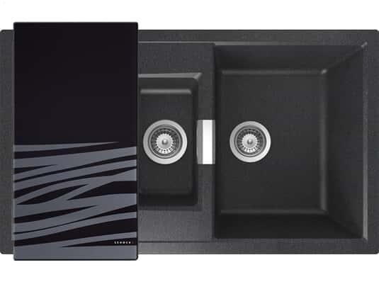 Draufsicht von SSchock Mono D-150 A Carbonium Granit-Spülemit schwarzem Glasschneidebrett