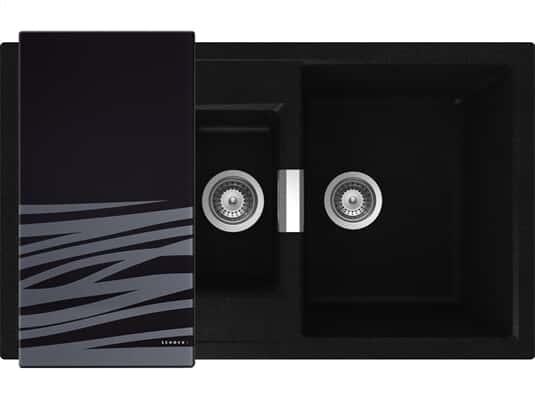 Draufsicht von SSchock Mono D-150 A  Magma Granit-Spülemit schwarzem Glasschneidebrett