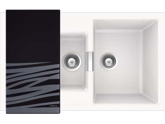Draufsicht von SSchock Mono D-150 A Polaris Granit-Spülemit schwarzem Glasschneidebrett