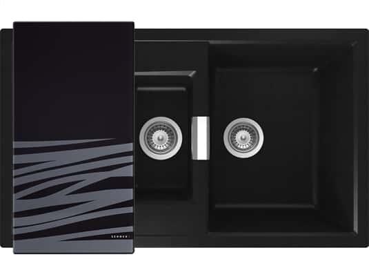 Draufsicht von Schock Mono D-150 A Puro Granit-Spülemit schwarzem Glasschneidebrett