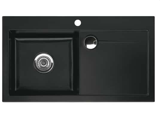Produktabbildung Stema 90 mit Becken links in Nigra (schwarz)