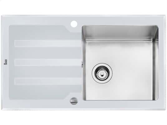 Teka Lux 1B 1D Edelstahl-Glas-Spüle weiß