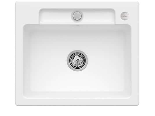 Villeroy & Boch Siluet 60 S Stone White – 3346 02 RW Keramikspüle Exzenterbetätigung