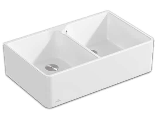 Produktabbildung Spülstein 80 X mit 2 Becken und Handbetätigung in Stone White