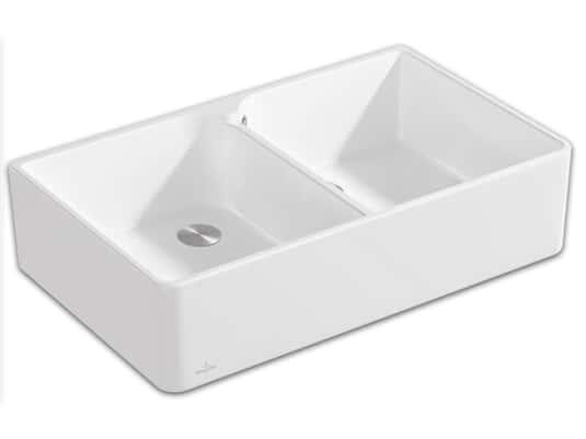 Produktabbildung Spülstein 90 X mit 2 Becken und Excenterbetätigung in Stone White