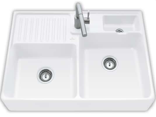 Produktabbildung Spülstein Doppelbecken mit Handbetätigung in Stone White