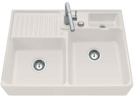 Produktabbildung Spülstein Doppelbecken mit Excenterbetätigung in Crema