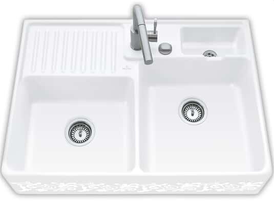 Produktabbildung Spülstein Doppelbecken mit Excenterbetätigung in White Pearl