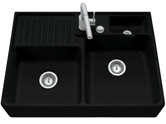 Produktabbildung Spülstein Doppelbecken mit Excenterbetätigung in Ebony