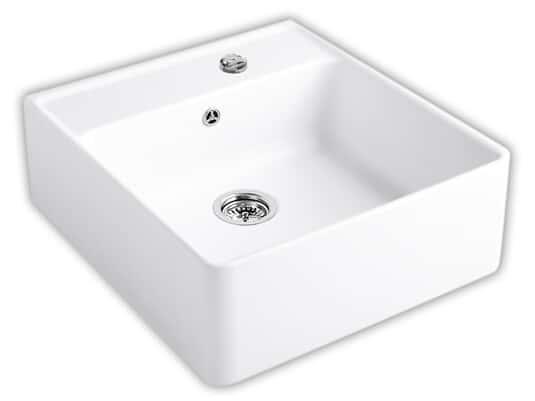 Produktabbildung Spülstein Einzelbecken mit Excenterbetätigung in Weiß (alpin)