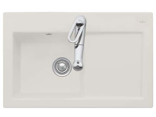 Produktabbildung Subway 45 mit Becken links und Handbetätigung in Crema