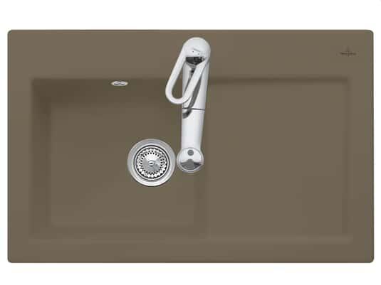Produktabbildung Subway 45 mit Becken links und Handbetätigung in Timber