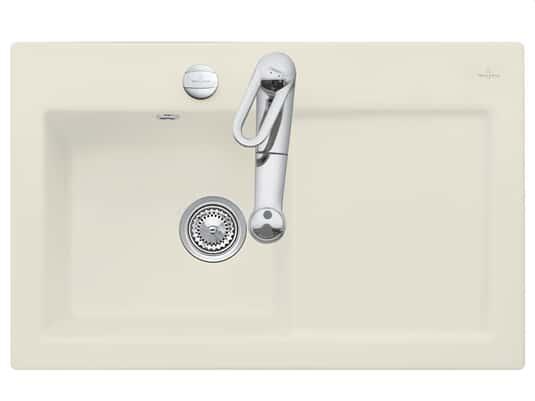 Produktabbildung Subway 45 mit Becken links und Excenterbetätigung in Ivory