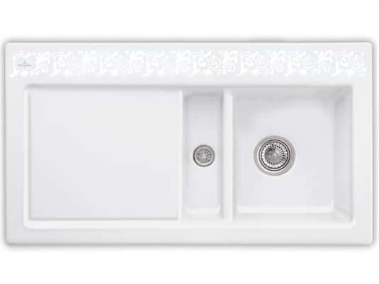 Produktabbildung Subway 50 mit Becken rechts und Handbetätigung in White Pearl