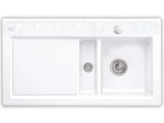 Produktabbildung Subway 50 mit Becken rechts und Excenterbetätigung in White Pearl