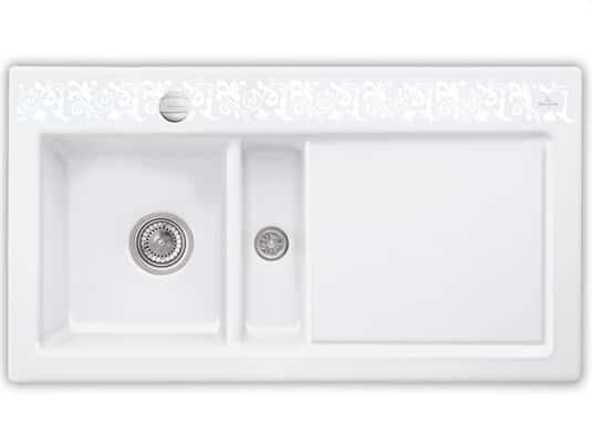 Produktabbildung Subway 50 mit Becken links und Excenterbetätigung in White Pearl