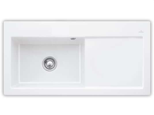 Produktabbildung Subway 60 XL mit Becken links und Handbetätigung in Weiß (alpin)