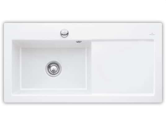 Produktabbildung Subway 60 XL mit Becken links und Excenterbetätigung in Weiß (alpin)