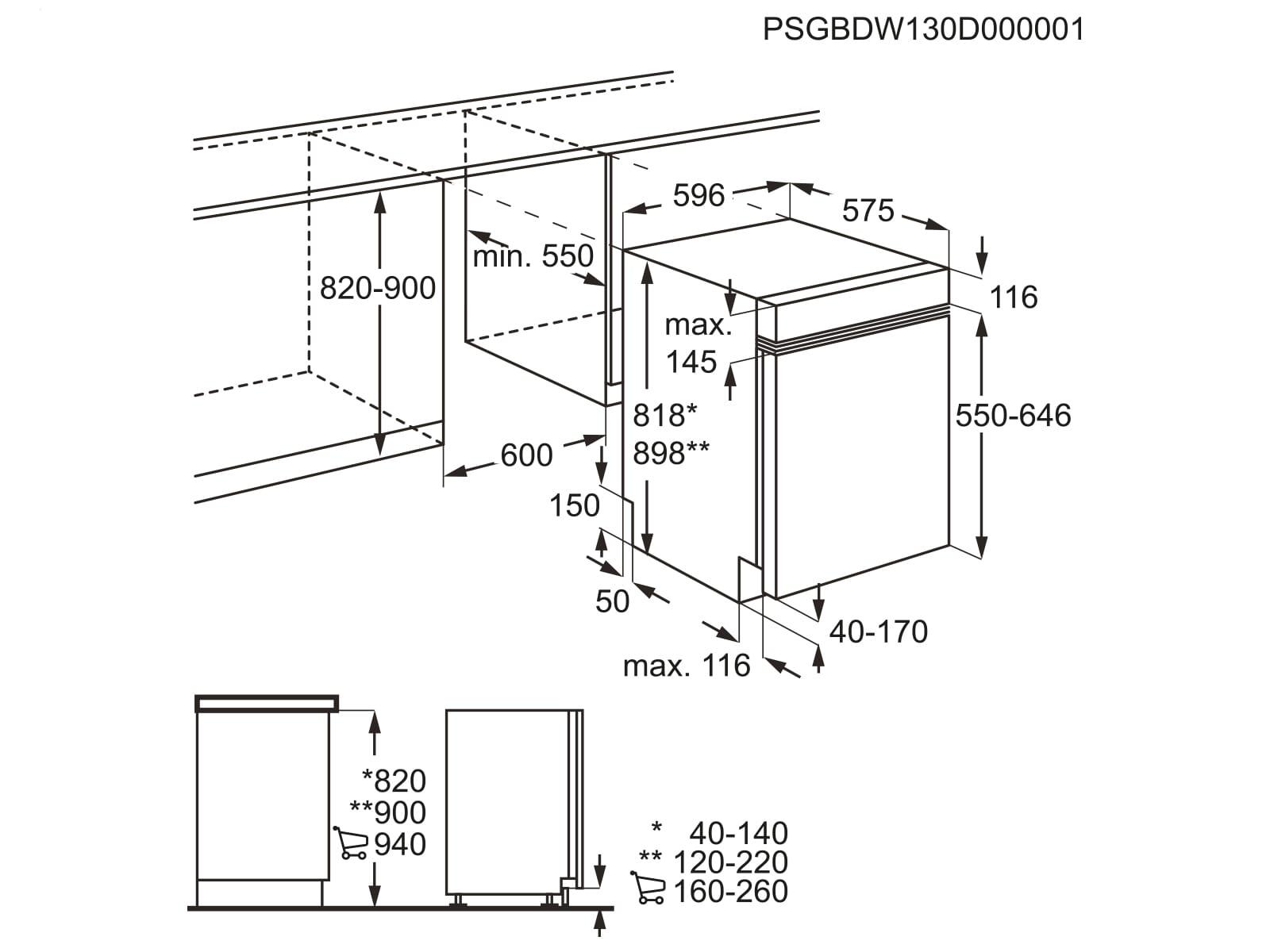 aeg fee63800pm teilintegrierbarer einbaugeschirrsp ler ebay. Black Bedroom Furniture Sets. Home Design Ideas