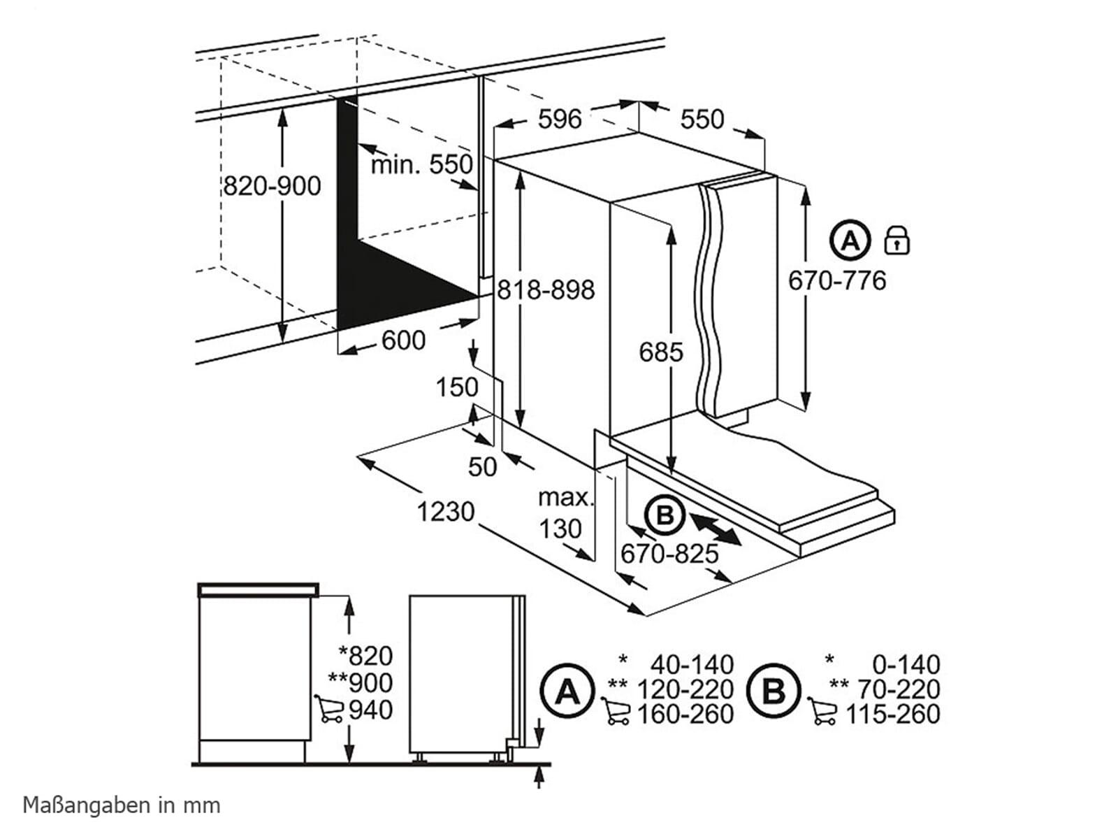 aeg fse62700p proclean vollintegrierbarer einbaugeschirrsp ler. Black Bedroom Furniture Sets. Home Design Ideas