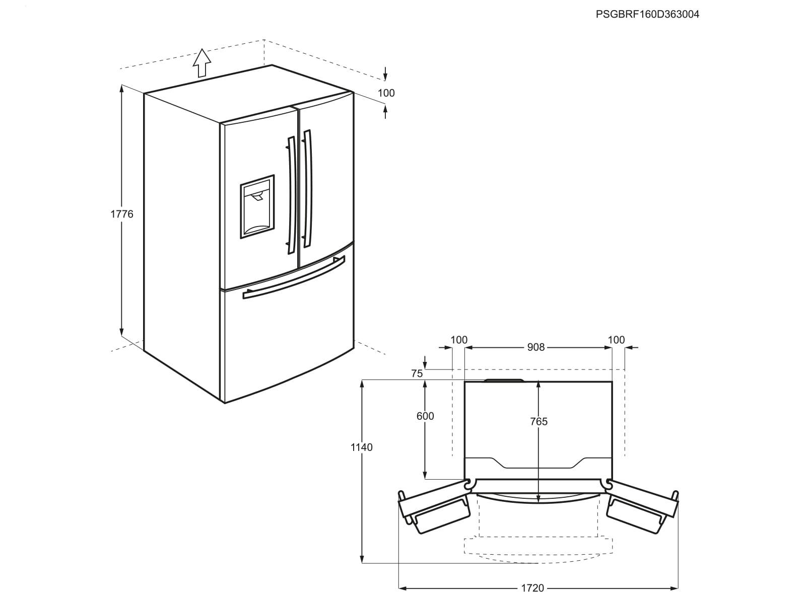 aeg rmb86321nx french door k hl gefrierkombination edelstahl. Black Bedroom Furniture Sets. Home Design Ideas