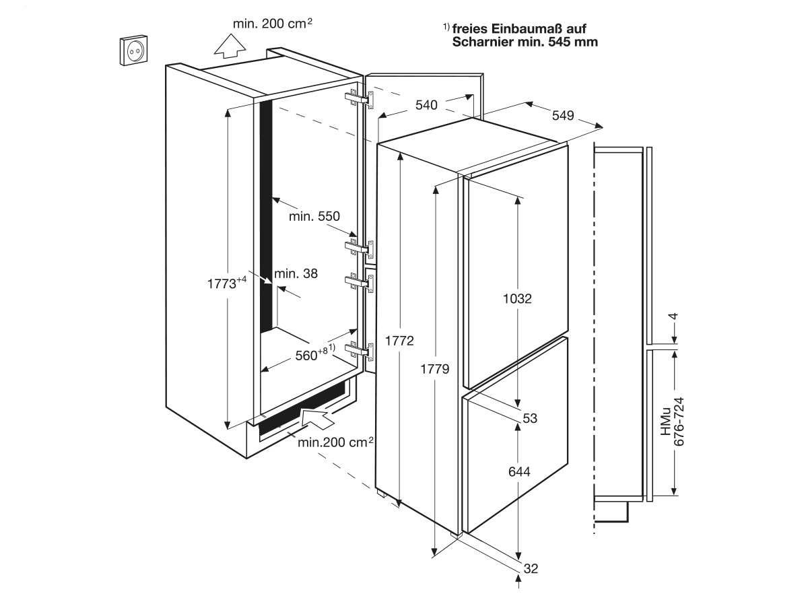 aeg scb61826ns einbau k hl gefrierkombination. Black Bedroom Furniture Sets. Home Design Ideas