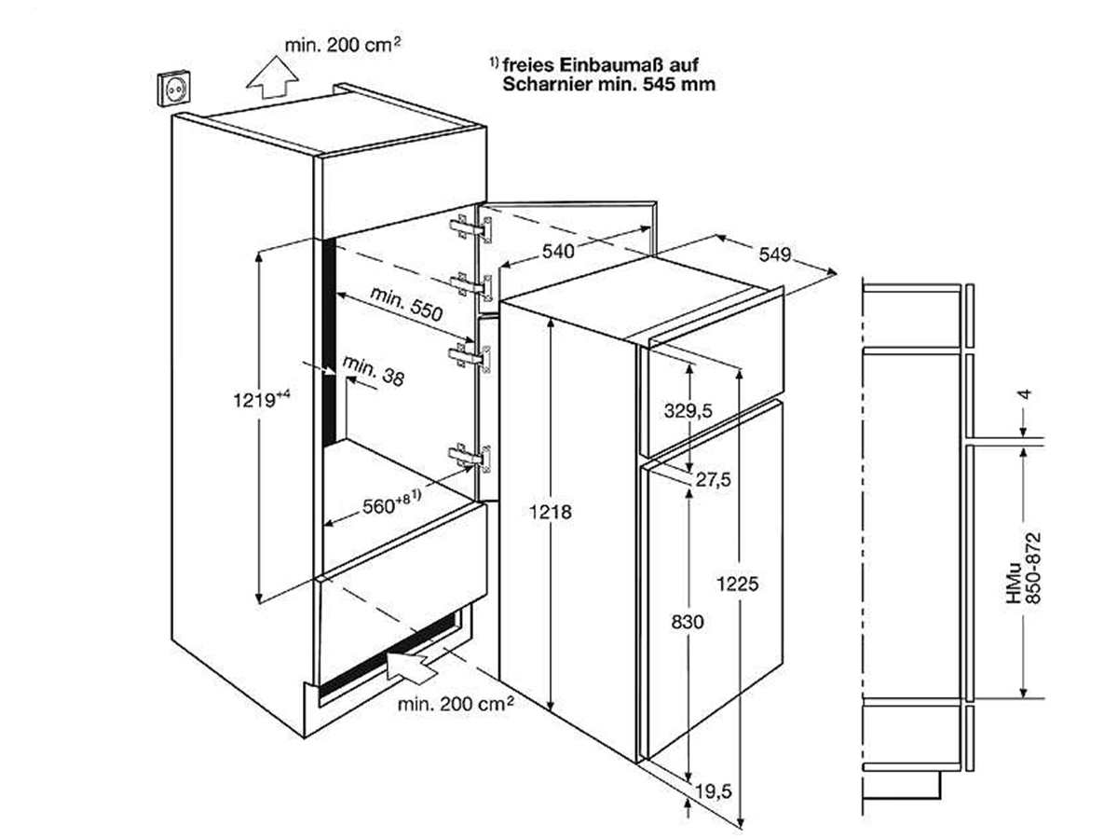 aeg sdb41211as einbau k hl gefrierkombination. Black Bedroom Furniture Sets. Home Design Ideas