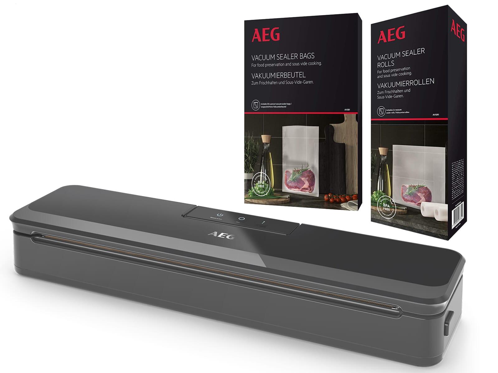 AEG Vakuumierset - Vakuumiergerät VS4-1-4AG + 60 Vakuumierbeutel AVSB1 + 2 Vakuumierrollen AVSR1