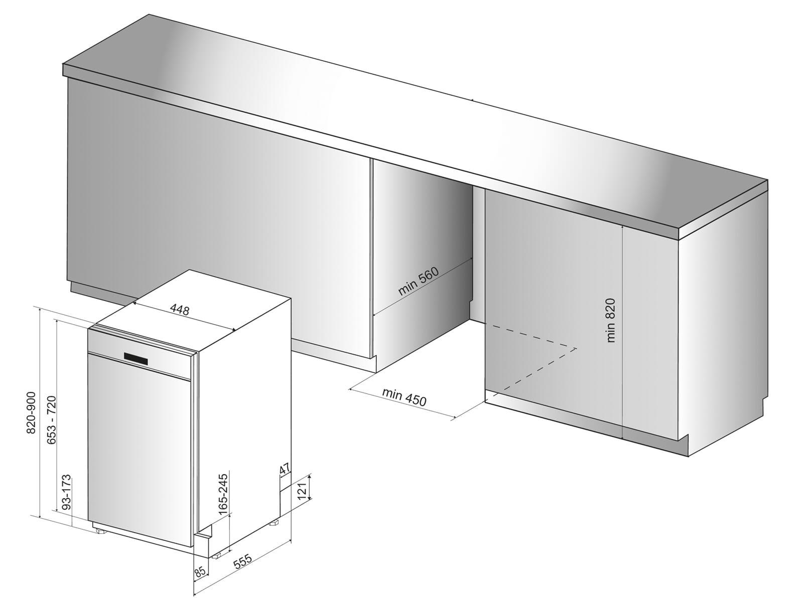 Bauknecht BSBO 3O23 PF X Teilintegrierbarer Einbaugeschirrspüler