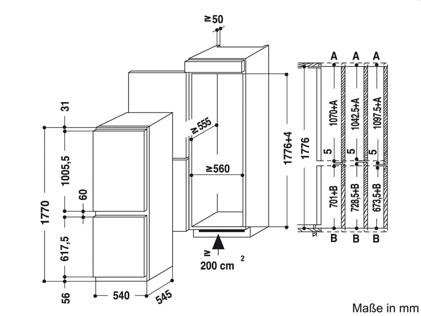 bauknecht kgin 3183 a einbau k hl gefrierkombination. Black Bedroom Furniture Sets. Home Design Ideas