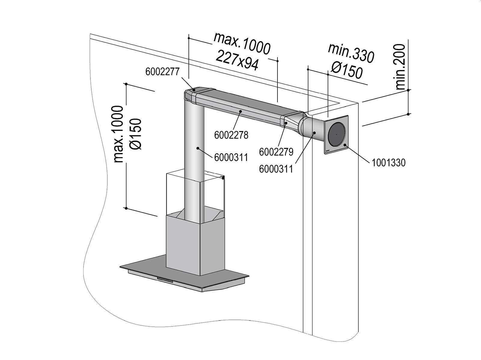 Berbel 1004730 Abluft-Set II  - Flach 150