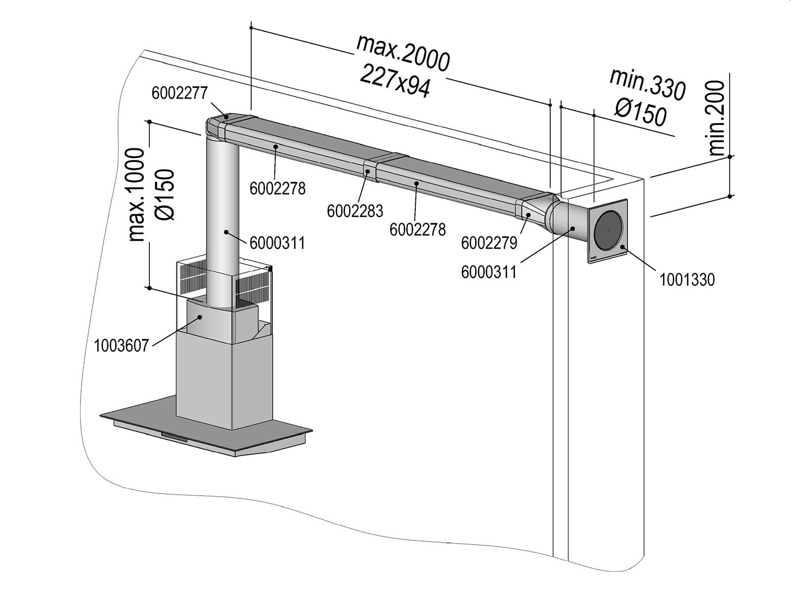 Berbel 1004734 Abluft-Set ECO III  - Flach 150 doppelt