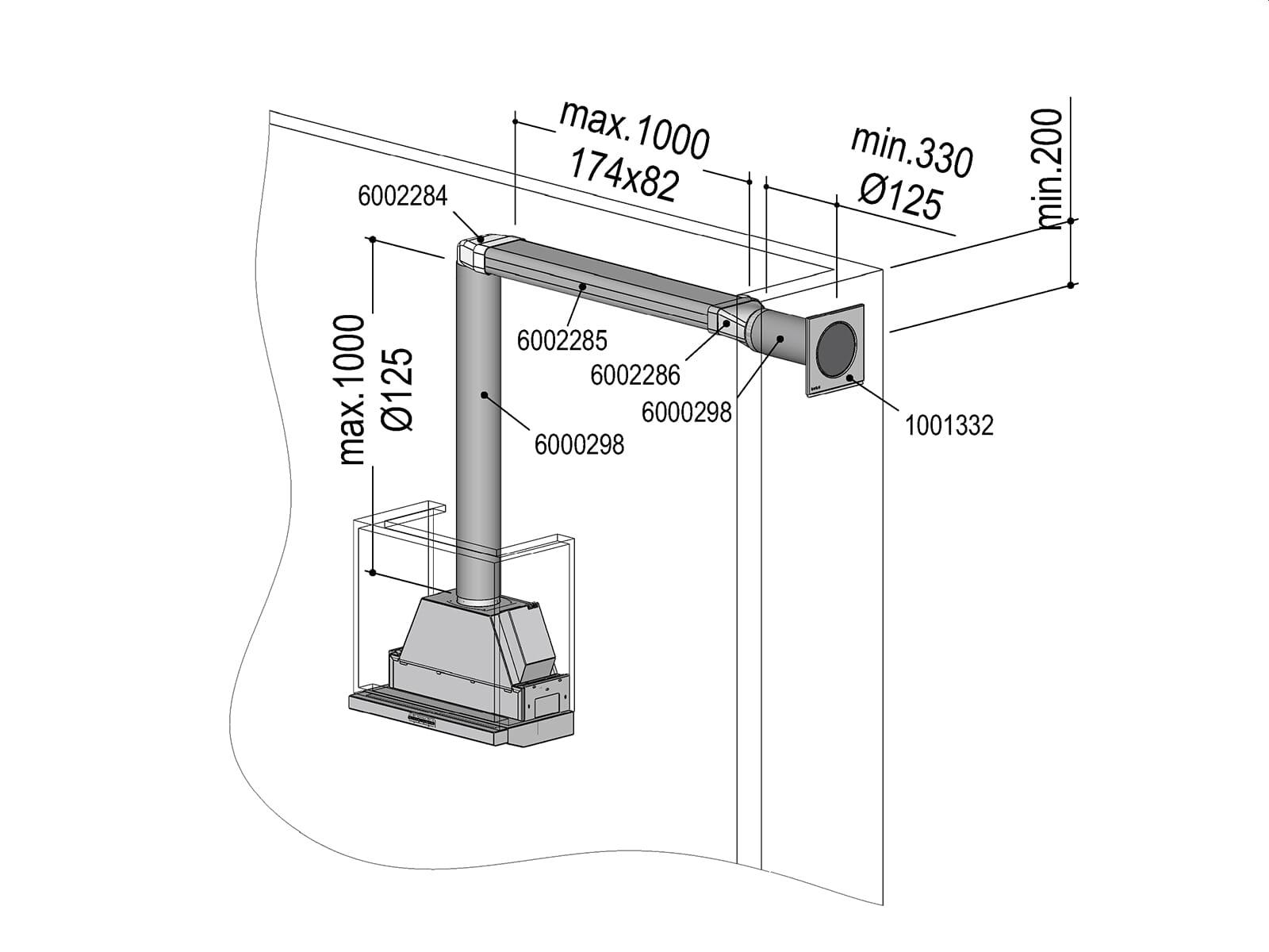 Berbel 1004736 Abluft-Set II  - Flach 125