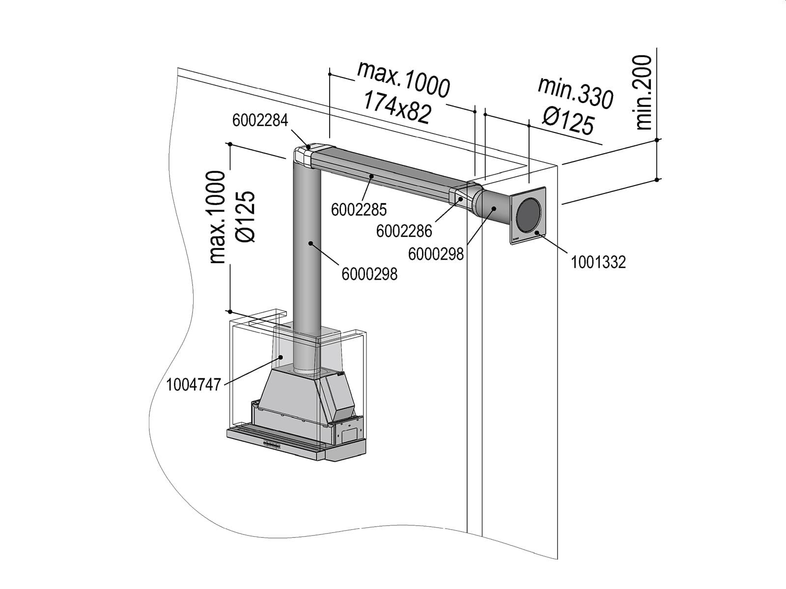 Berbel 1004739 Abluft-Set ECO II  - Flach 125
