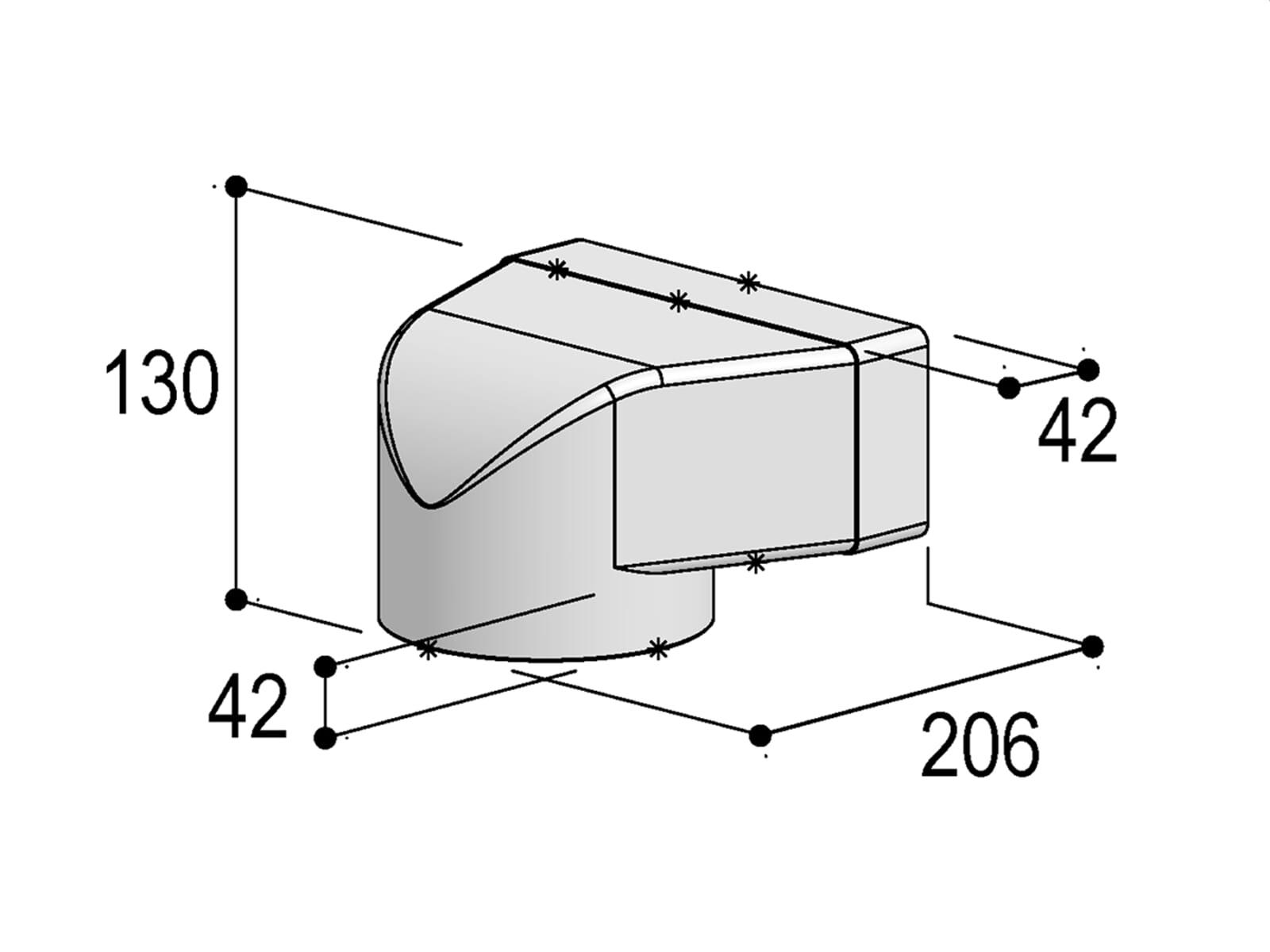 Berbel Flachrohr System 150 - 90°-Umlenkstück auf flach