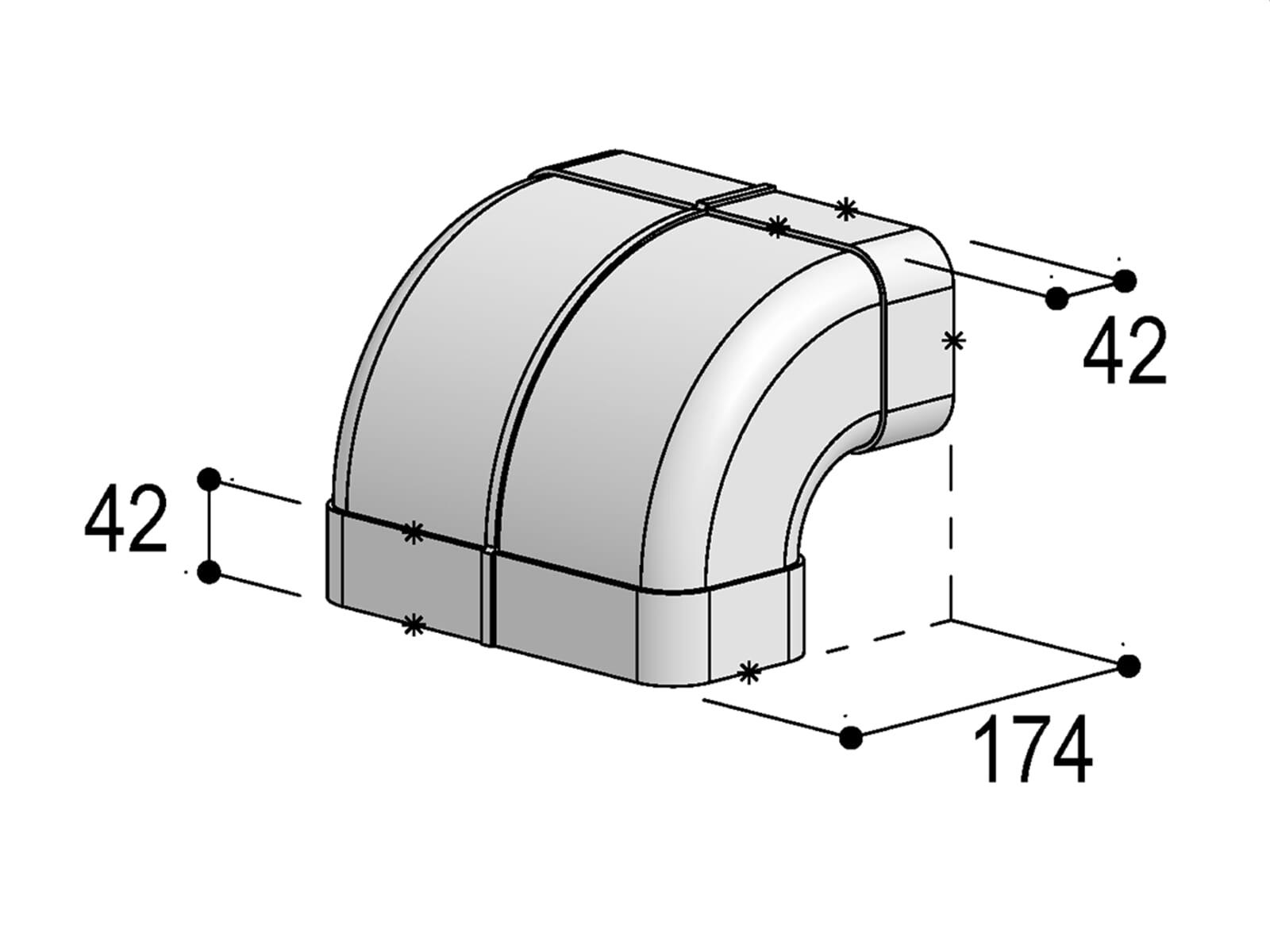 Berbel Flachrohr System 150 - 90°-Bogen senkrecht
