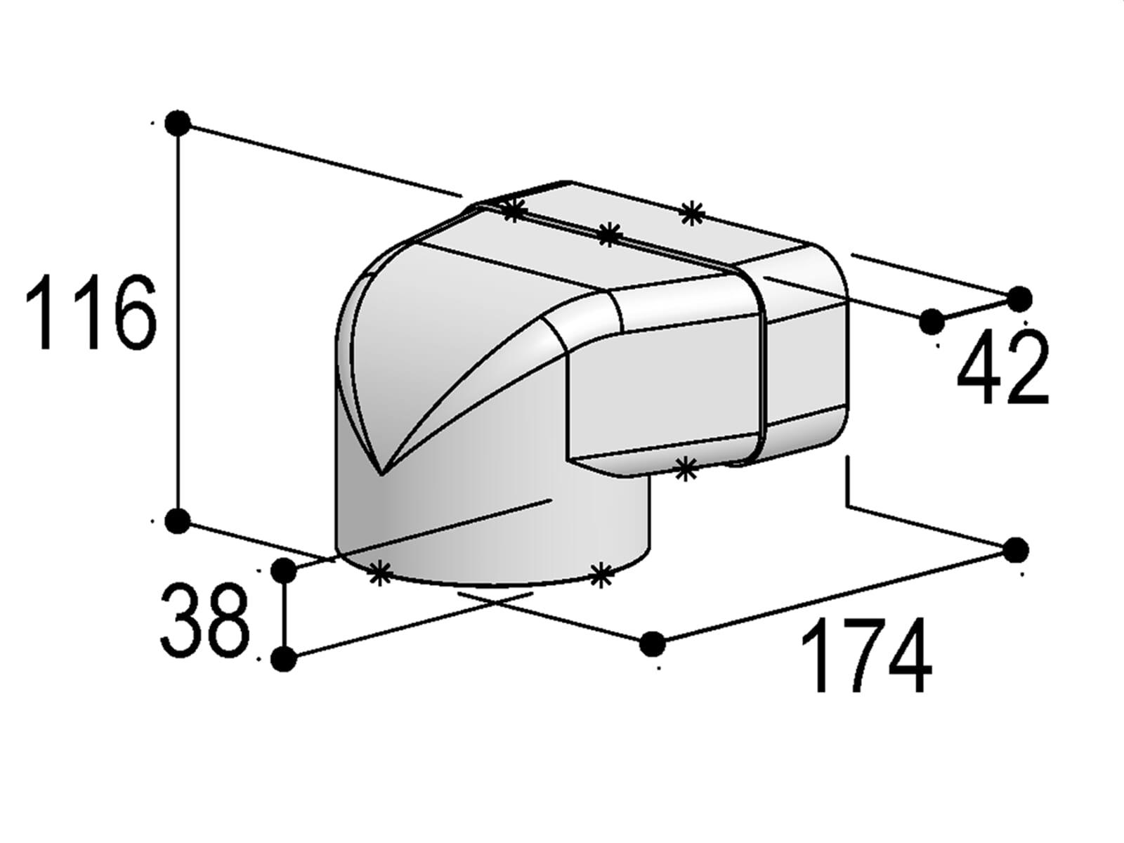 Berbel Flachrohr System 125 - 90°-Umlenkstück auf flach