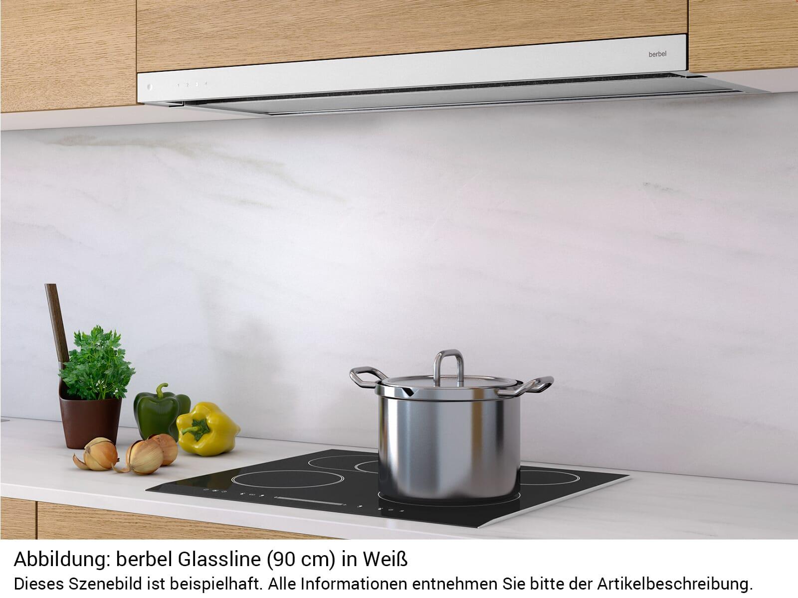 Berbel Glassline BEH 90 GL Flachschirmhaube Weiß