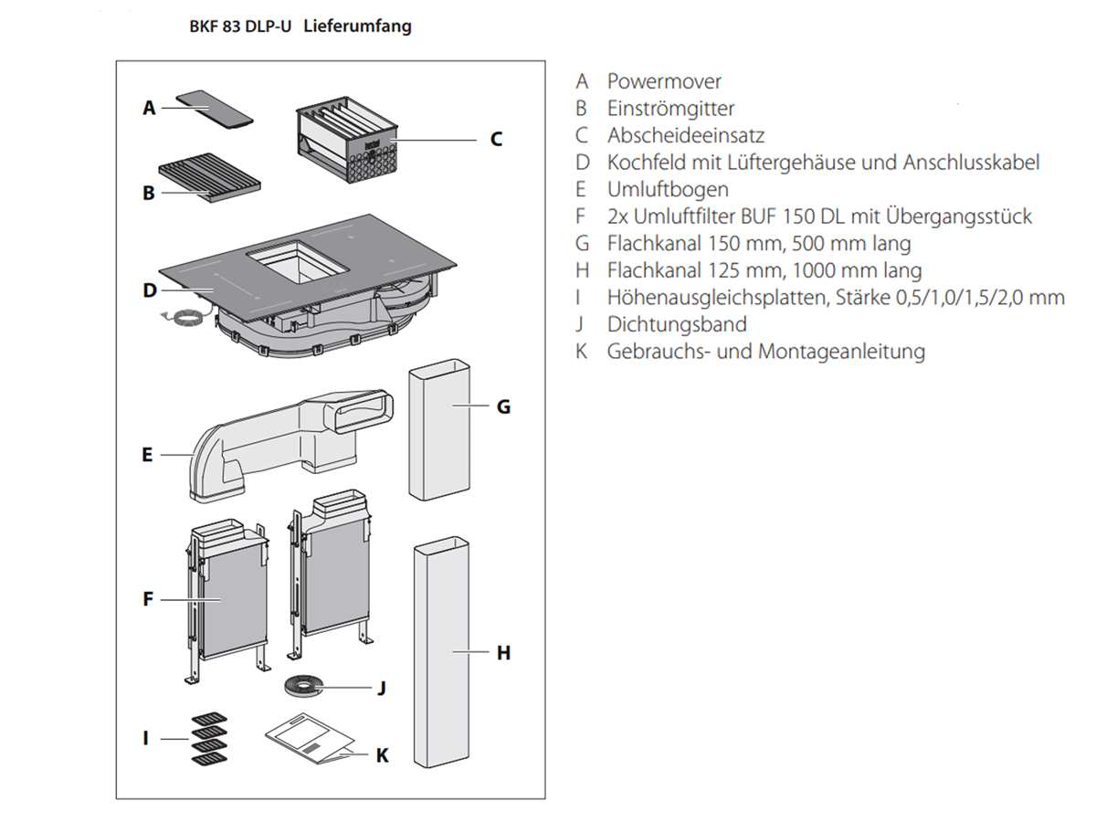 Berbel Downline BKF 83 DLP-Umluft Induktionskochfeld-Dunstabzug-Kombination